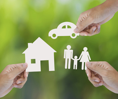 House, car, family cutouts