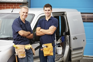Repair men and truck